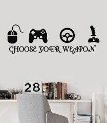 joystick gamer vinyl wall decal quote video game play room esports our vinyl stickers are unique and one of a kind every sticker we sell is made per order and cut in house we make our wall decals using superior quality