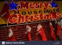 merry lights and chritmas hanging up on
