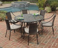 home styles stone harbor 7 piece round slate tile patio table and