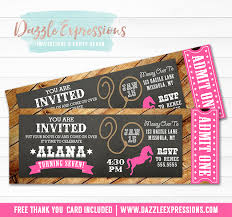 printable rustic chalkboard ticket birthday invitation