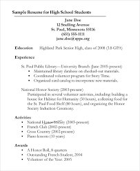 resume outline resume outline for high students sample
