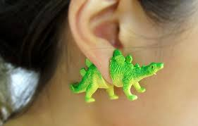 dinosaur earrings these dinosaur earrings are upcycled and trendy so you can save