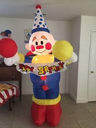 image gemmy airblown inflatable birthday party clown 8 ft tall l