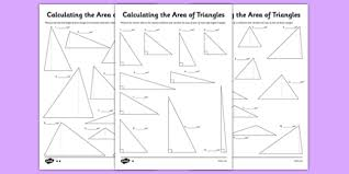 differentiated calculating the area of triangles activity sheet