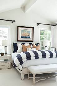 bedroom marvelous navy white striped curtains in bedroom beach