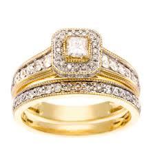 gold wedding ring sets 14k yellow gold 1ct tdw white diamond bridal set free shipping