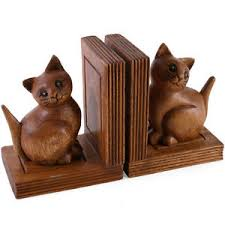 wooden cat beautiful carved acacia wooden cat bookends ebay