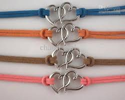 bracelet leather cord images Mixed colors 2 hearts love heart leather cord bracelet leather jpg