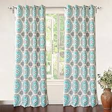 Aqua And Grey Curtains Driftaway Medallion Floral Pattern Room