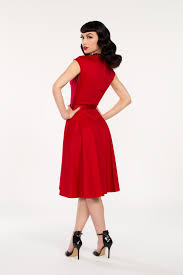 pinup couture heidi dress in red vintage style dress pinup