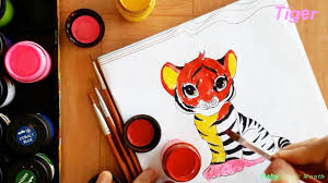 how to color tiger for children learning colors art video for