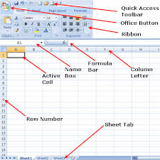 parts of the excel 2007 screen