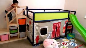 Ikea Kura Bed Hack Fire Engine Play And Slide Structure YouTube - Ikea bunk bed slide