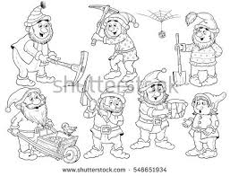 snow white dwarfs fairy tale stock illustration 546651934