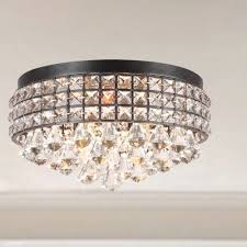 shade crystal chandelier jolie iron shade crystal flush mount chandelier youtube