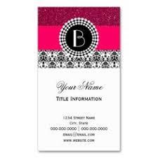 Monogram Business Cards Elegant Split Damask Pattern With Monogram Business Card