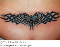 black ink tribal butterfly on lower back tattooshunt com