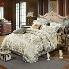 2017 luxury jacquard brocade fabric bedding set golden king duvet