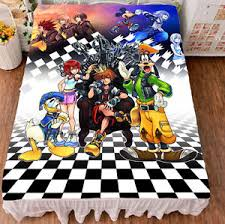 Anime Bed Sheets Game Kingdom Hearts Sora Cosplay Otaku Anime Gift Bed Sheet
