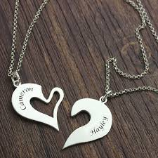 personalized necklaces for couples breakable heart name necklace for couples silver