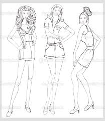 fashion coloring pages hand drawn fashion model vector