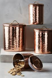 copper canisters kitchen copper plated canister set anthropologie leaves and teas
