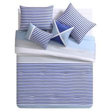 Blue Striped Comforter Set Blue U0026 White Collegiate Stripe Reversible Comforter Set Vcny