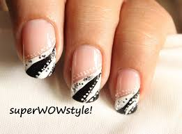 french tip abstract nail designs easy nail art in black and