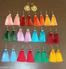 punjabi jhumka earrings punjabi lotan jhumka set of 12 mulicolor phuman tassles latkan