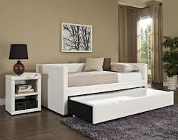Pop Up Trundle Daybed White Leather Bed With Sliding Trundle Combined With White Brown