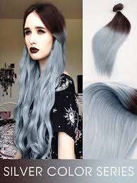 silver hair extensions brown to silver dip dye ombre indian remy clip in human
