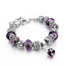 charm bracelet european images Purple austrian crystal and murano glass custom european charm jpg