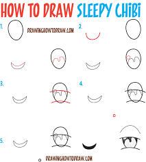 how to draw tired sleepy exhausted chibi expressions easy