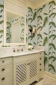 Striped Wallpaper Bathroom Tropical Wallpaper Bathroom Beach Style With Leaf Wallpaper