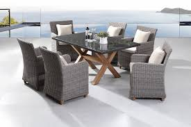 blue stone 6 7pc granite stone top outdoor dining set with