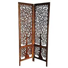wood carving room divider wooden partition 3 panel by artesia