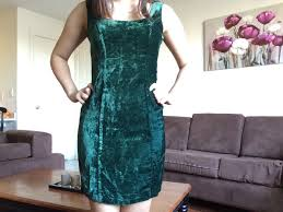 vintage 80 u0027s dark green crushed velvet betsy johnson body con