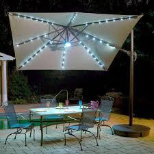 Rectangular Patio Umbrella With Solar Lights by Island Umbrella Santorini Ii Fiesta 10 Ft Square Cantilever Patio