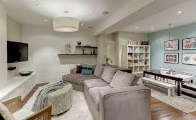 Grey Family Room Ideas Marvelous Basement Family Room Ideas Letter L Grey Sofa Wooden Tv