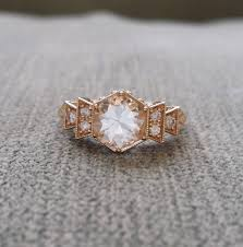 copper engagement ring antique white sapphire engagement ring yellow gold