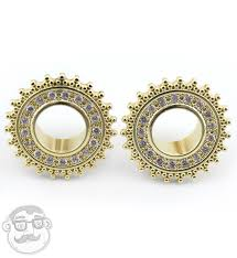 pvd gold cz beaded shield tunnels 2 gauge 5 8