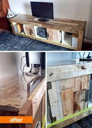 Rustic Tv Console Table Before After Ikea Expedit Transformed Into Rustic Tv Console