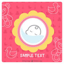 simple baby card design vector free