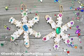 puzzle piece snowflake ornaments kid craft glued to my crafts