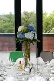 Tall Glass Vase Flower Arrangement White Green And Blue Hydrangea Curly Willow Tall Centerpiece