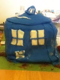 attempted to make a tardis cake for my sisters birthday nailed it