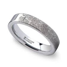fingerprint wedding bands fingerprint flat wedding ring in tungsten 4mm
