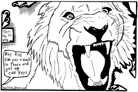 maze cartoon by yonatan frimer of lion roaring with siegfried