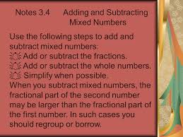 notes 3 4 adding and subtracting mixed numbers use the following