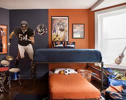 engaging sport teenage boy bedroom decoration using blue orange